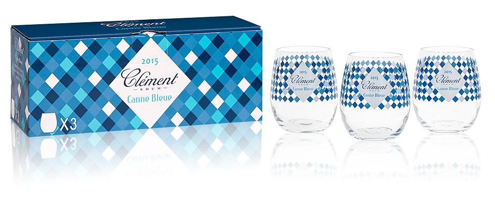 Clement, coffret verres de degustation Rhum Canne Bleue